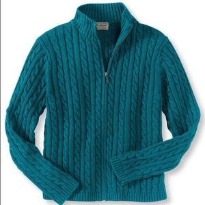 LL Bean Cotton Sweater Zip-Front Cable Cardigan